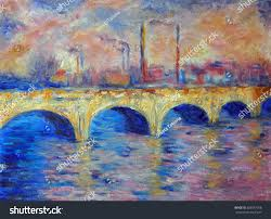 original oil painting on canvas london bridge in impressionism style