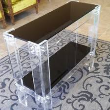 lucite console table. Acrylic Clear/Black Lucite Console / Sofa Table MADE IN USA