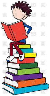 630x1200 cartoon boy reading a book vector image â vector artwork of