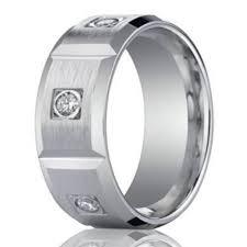 8mm Men S 950 Platinum Burnish Diamond Wedding Band