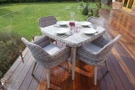 grey rattan dining table. maze rattan - paris 4 seat dining set with 120cm table in a light grey weave
