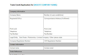 account application form template. Trade Account Application Form Template Bizorb