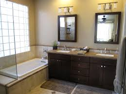 dual vanity bathroom: espresso stained wooden vanity table dresser with square dark middot custom double sink bathroom