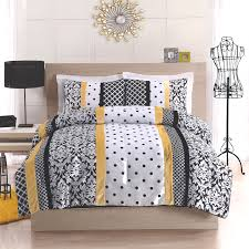 black yellow and white polka dot damask striped bedding