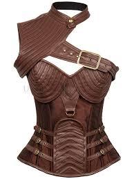 steampunk brown steel boned one shoulder leather spiral stripe shape corset