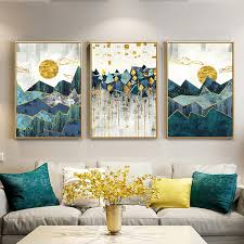 2019 <b>Nordic Abstract Geometric Mountain</b> Landscape Wall Art ...