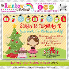 Christmas Birthday Party Invitations 455 Diy Christmas In July Party Invitation Or Thank You Card