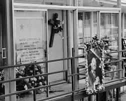 「On April 4, 1968, Martin Luther King Jr., 39, is fatally shot while standing on the balcony outside his second-story motel room in Memphis, Tennessee.」の画像検索結果
