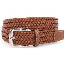 home belts italian woven stretch leather belt cognac tan