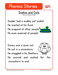 The activities are perfect to help you differentiate for all the learners in your class. Snakes And Owls Sn Phonics Stories Reading Comprehension Worksheet Have Fun Teaching