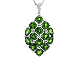 green russian chrome diopside silver pendant with chain 8 52ctw doh382 jtv com