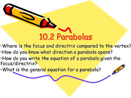 10 2 parabolas where is the focus and directrix compared to the vertex how do you know