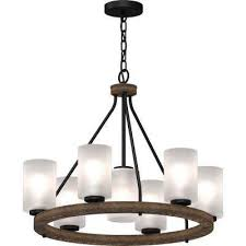 emery 7 light walnut and black indoor hanging chandelier with frosted glass cylinder shades