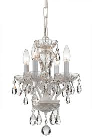 crystorama traditional italian crystal 4 light white mini chandelier