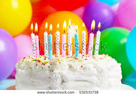Birthday Cake Candles Balloons Background Stock