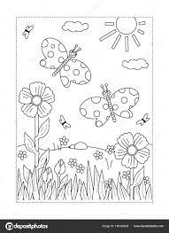 Kleurplaat Met Gras Lente Zomer Vreugde Thema Kleurplaat Met