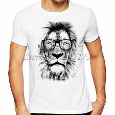 Asian size XXL Lion Glasses Printed T-Shirt <b>Mens</b> Summer Cool ...