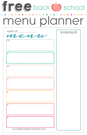 Back To School Free Printable Menu Planner