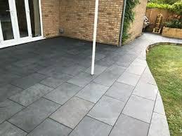 black slate paving patio slabs garden