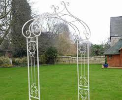 ornate antique white wrought iron metal rose garden arch