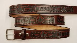 leather belt with mason basket weave pattern is made in the usa all handmade