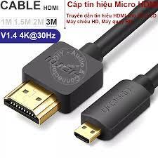 Cáp Micro HDMI sang HDMI 3 mét 4K30Hz Ugreen HD 127 30104 - Cắm chuyển từ Máy  ảnh Máy quay Camera hành trình lên TV Máy chiếu