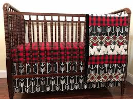 woodland crib bedding red and black