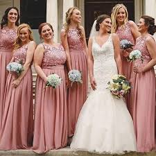 Watters Bridesmaid Size Chart Blush Pink Jewel Sleeveless Plus Size A Line Chiffon Party Gowns With Lace Applique Back Zipper Floor Length Custom Made Elegant Formal Gown Watters