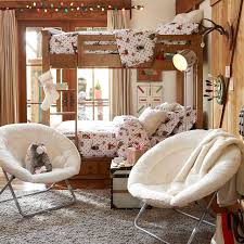 ivory sherpa faux fur hang a round chair pbteen