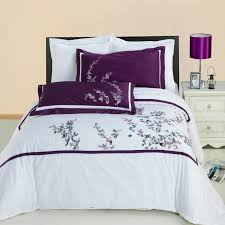 Purple floral accent on white duvet cover | Bedrooms | Pinterest ... & Purple floral accent on white duvet cover Adamdwight.com