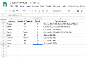 the counta function in google sheets