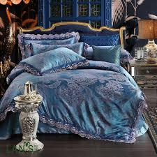 luxury royal blue lace jacquard 4pcs bedding sets queen king size tencel satin bedclothes duvet cover