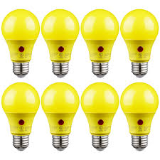 Led Yellow Bug Light Torchstar 8 Pack A19 Auto On Off Led Yellow Bug Light Bulbs 9w 2700k Soft White Outdoor Dusk To Dawn Photocell Sensor Bug Free Ul Listed Damp
