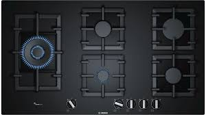 bosch 900mm series 6 5 burner tempered glass gas cooktop black harvey norman au