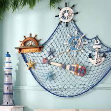 Seaside Decorative Accessories Blue White Fishing Net Hanging Decorative Fabric Seaside Beach 95