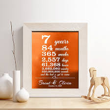 personalized 7th copper anniversary gift for him or her 7 years
