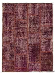 purple over dyed turkish patchwork rug 3 11 x 5