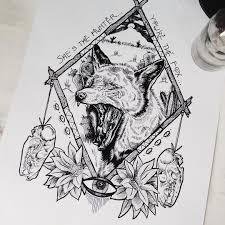 оригинальный универсальный эскиз тату лисы 247