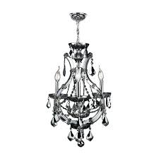 smoke crystal chandelier lyre collection 4 light chrome finish with iron and smoke crystal chandelier