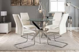 novara chrome metal round glass dining table and 4 lorenzo dining chairs furniturebox