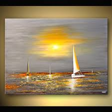 abstract seascape painting sail boat art huge textured painting yellow and gray painting original by osnat