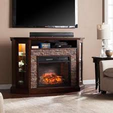 w corner convertible infrared media electric fireplace in espresso