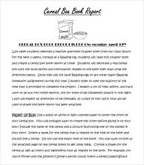 sample cereal box book report template book review template sample cereal box book report 4 format example