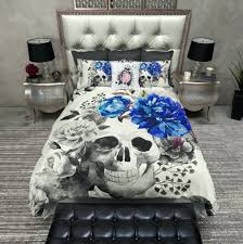 full size of royal blue flower watercolor skull duvet bedding sets sugar skull duvet cover by