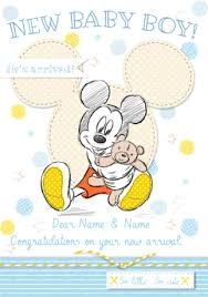 Congratulations On Your New Baby Card Disney Baby Mickey New Baby Card Baby Boy Congrats