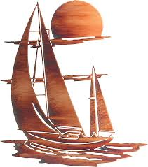 this elaborate metal wall art will make the perfect addition to your ocean sea or sailboat themed decor measurements width x height color finish honey  on yacht metal wall art with red sunset over yacht at sea two colour drawing