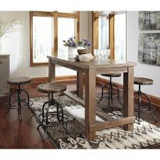 industrial counter height table. Signature Design By Ashley Pinnadel 5-Piece Counter Table Set With Industrial Style Adjustable Swivel Height