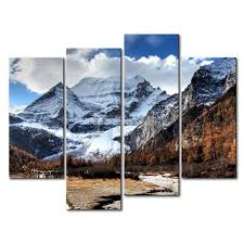 3 piece wall art painting snowy mountains yellowing trees gallery road print on canvas the picture on 3 piece wall art mountains with 3 piece wall art painting snowy mountains yellowing trees gallery