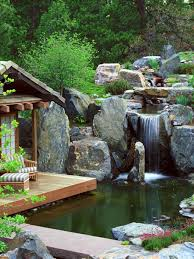 Terrace and Garden: Waterfall Garden For Koi Pond - Backyard Waterfalls