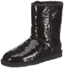 New in Box UGG AUSTRALIA BOOTS SIZE 8 BLACK SEQUINS SPARKLES CLASSIC SHORT  SZ 8